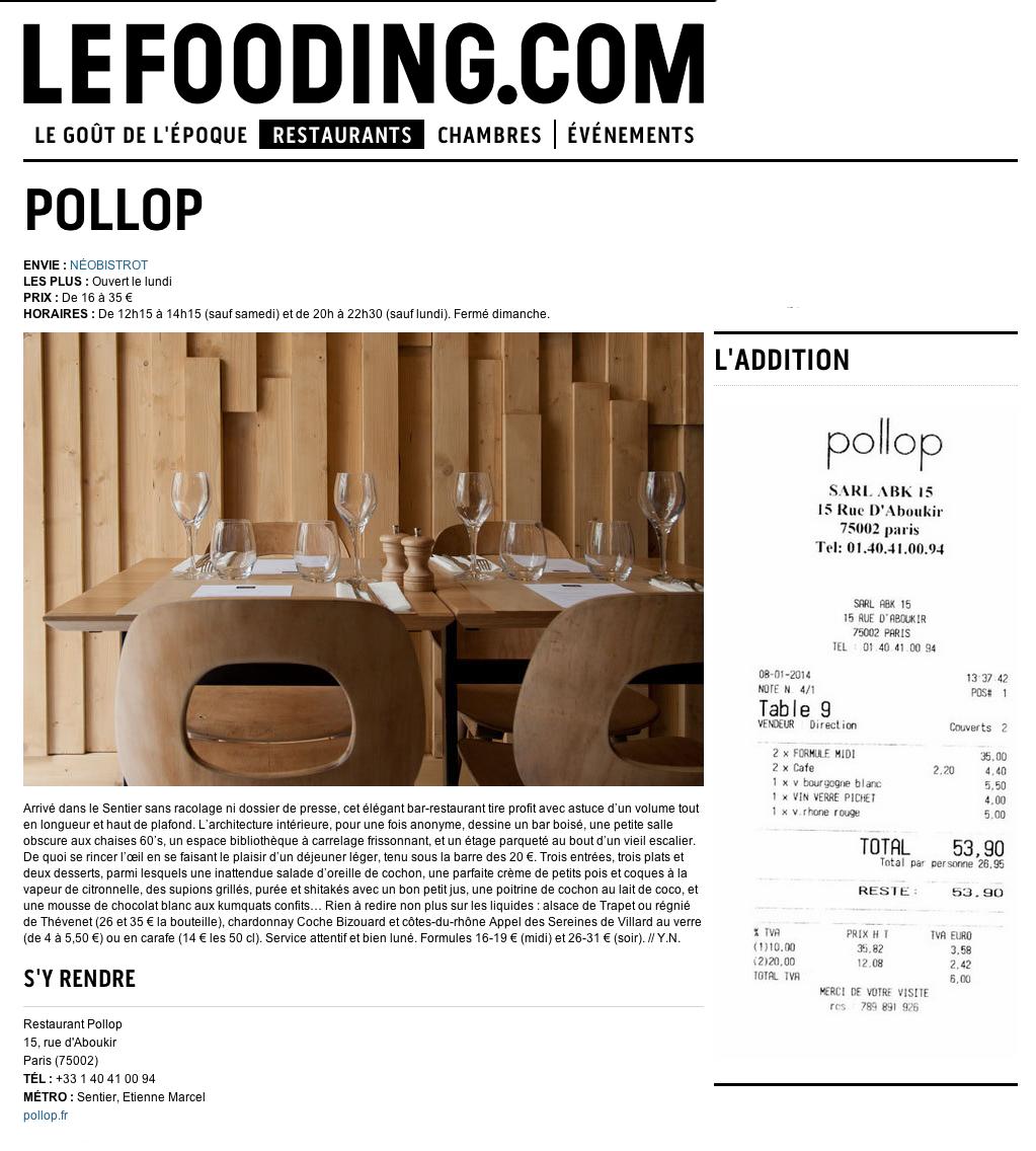 POLLOP, à la Une du Fooding